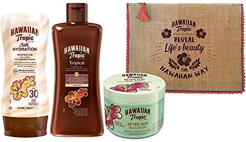 Hawaiian Tropic Set con Lozione Silk Hydration SPF 30, Olio Abbronzante Tropicale SPF 0, Doposole...