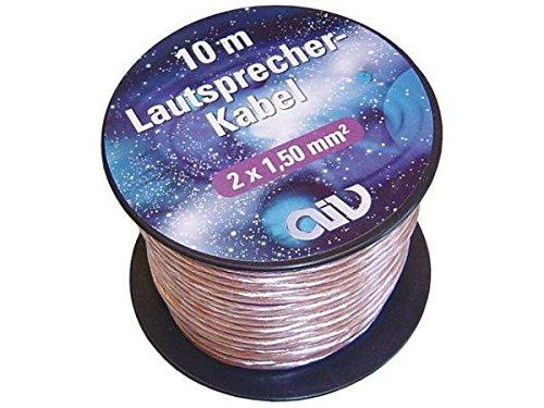 AIV Lautsprecherkabel Mini-Spule 2x1,50 mm² 10 m OFC-Cu transparent