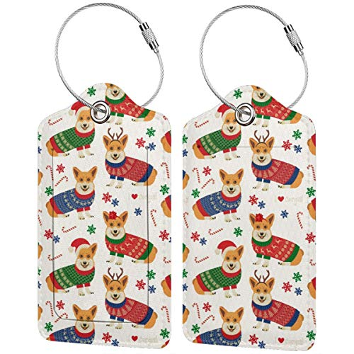 Christmas Corgi Personalized Leather Luxury Suitcase Tag Set Travel Accessories Luggage Tags