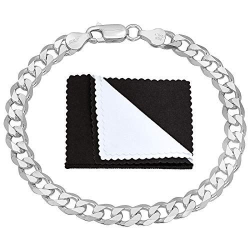 Men's 6.5mm .925 Sterling Silver Beveled Curb Curb Chain Link Bracelet, 9 inches + Jewelry Cloth & Pouch