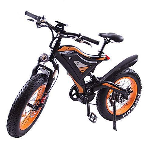 HSTD Elektrische Mountainbike - 20In Fett Reifen Elektrische Fahrrad, Strand Cruiser Schnee Bike, 500W E-Bike 48V 10,4 Ah Lithium-Batterie, Shimano 21 Geschwindigkeit Elektrofahrrad Orange