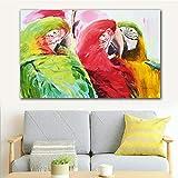 N / A Pintura sin Marco Tres Coloridos Loros Carteles Arte de la Pared para la habitación de los niños decoración Moderna del hogarCJX2491 50X85cm