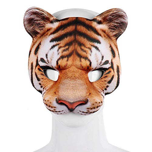 Fangteke Mscara de Tigre EVA Media Cara Mscara de Cosplay para Fiesta de Halloween Mascarada