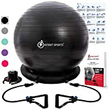 INTENT SPORTS Ball with Base, Exercise Balance Ball (Black)