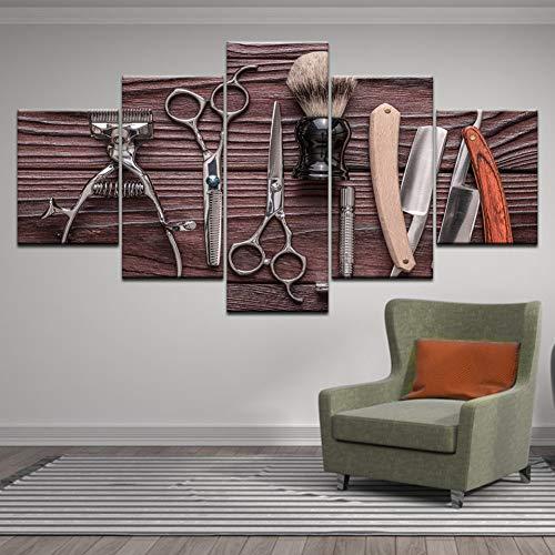 HOMEDCR Mural 5 Panel Friseur Werkzeuge Schere schönheit Styling Werkzeuge Druck leinwand malerei wandkunst Bild Friseur Dekoration