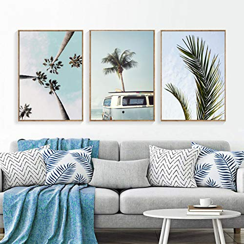 RHBNVR HD-print canvas schilderij 3 stuks landschap tropisch poster moderne indruk kokosnoot bus muurkunst canvas woonkamer hoofddecoratie