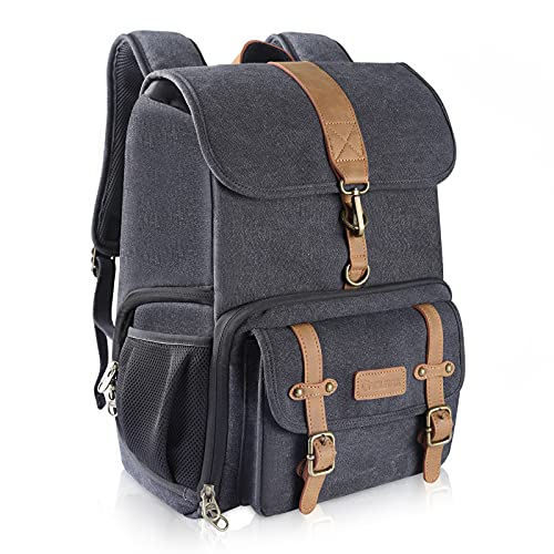Endurax Canvas Camera Backpack Bag for Photographers DSLR Backpacks fit up to 15.6 Laptop Rain Cover Included