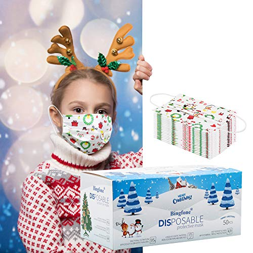 Christmas Disposable Face Mask for Kids Cute Xmas Face Masks Disposable 3 Layer Kids Masks with Elastic Earloops White Christmas Design Face Masks Disposable for Child School Outdoor