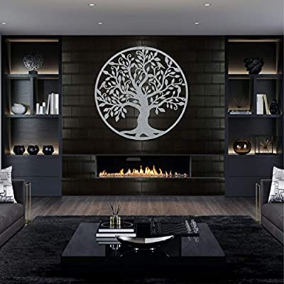 DEKADRON Metal Wall Art - Silver Grey Tree of Life - Metal Family Tree - Metal Wall Silhouette, Metal Wall Decor, Home Office Decoration Bedroom Living Room Decor by DEKADRON