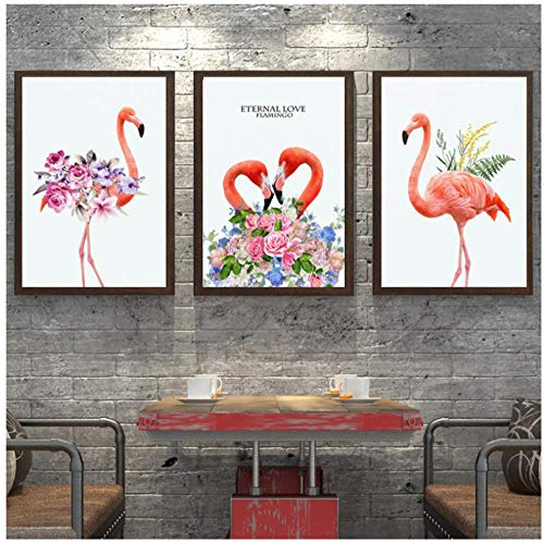 Mmdianpu Imagen - Pintura sobre Lienzo Estilo nórdico Estampados de Animales Flamenco Rosado con Flores Pintura al óleo Cuadros para decoración de la Sala de Estar (30x40 cmx3 sin Marco)