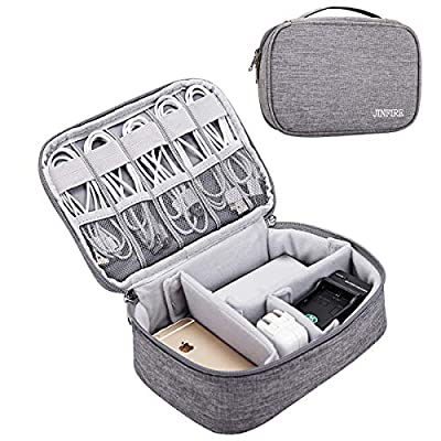 JINFIRE Electronic Organizer Travel Universal Cable Organizer Electronics Accessories Cases for Cable, Charger, Phone, USB, SD Card, Gray