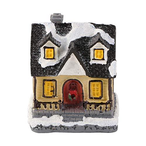 LIOOBO luz de Navidad pequeña casa de Pueblo casa de Nieve Edificio Iluminado centros de Mesa de Navidad rústico...