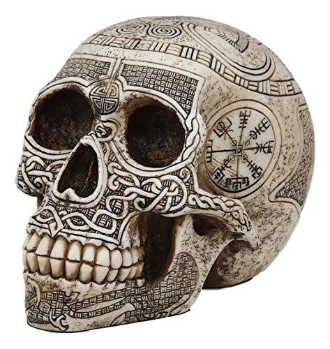 Ebros Norse Mythology Viking Vegvisir Compass Talisman with Trinity Valknut Odin Skull Figurine 8' Long Skeleton Head Skulls Ossuary Graveyard Macabre Halloween Decor