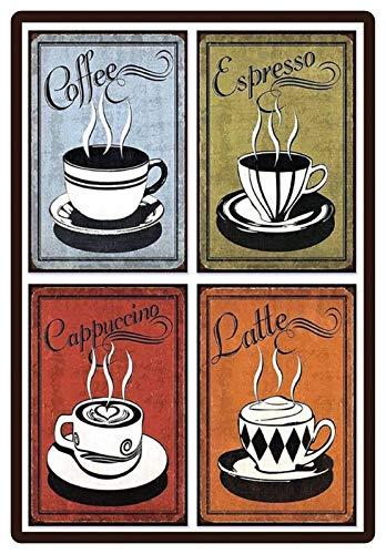 Metalen bord 20x30cm bord Coffee Espresso Cappuccino Latte Koffie Bar Tin Sign