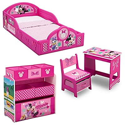 Disney Minnie Mouse 4-Piece Room-in-a-Box Bedroom Set - Includes Sleep & Play Toddler Bed, 6 Bin Design & Store Toy Organizer and Desk with Chair