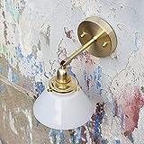 MBLYW kreative Wandleuchte wandleuchten led innen Wandlampe Messing original Glas japanischen nordischen minimalistischen Wohnzimmer Bad Malerei Lampe Gang Wand Lampe-milchig weiß (Wolfram-Glühbirne)
