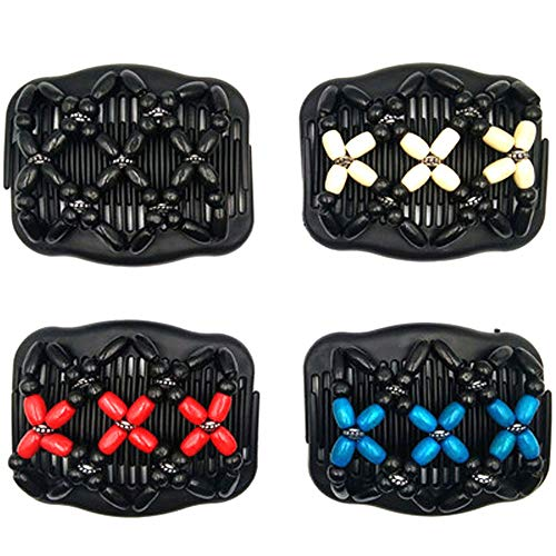 4 Stück Perlen Haarkämme Magie Elastische Comb Haarspangen Dehnbar Kamm Doppel Clips DIY Haar Styling Werkzeug für Damen Mädchen Haarschmuck für DüNnes,...