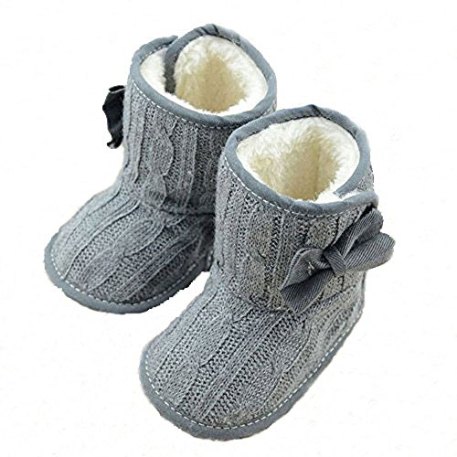 CdyBox Little Baby Fleece Fur Knit Snow Boots Infant Warm Winter for 0-18 Months (12-18 Months, Grey)