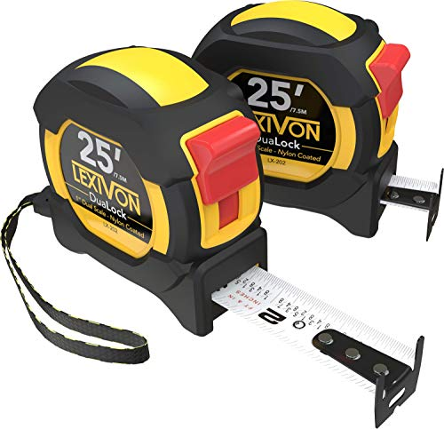 LEXIVON [2-Pack] 25Ft/7.5m DuaLock Tape Measure | 1-Inch Wide Blade with Nylon Coating, Matt Finish White & Yellow Dual Sided Rule Print | Ft/Inch/Fractions/Metric (LX-202)