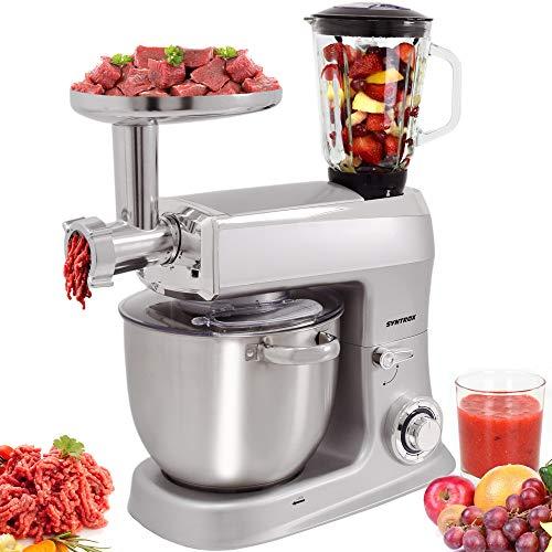 Syntrox Germany 1500 Watt Küchenmaschine Knetmaschine Mixer mit Fleischwolf, Edelstahl-Behälter, 7,5 Liter, silber