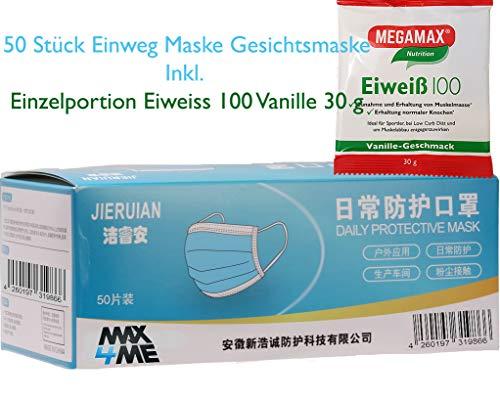 Max 4 me JIERUIAN 50 Stück Einweg Maske Gesichtsmaske Vlies Einwegmaske Mundschutz Staubschutz mit Ohrschlaufen, 50 Masken - 3-lagige atmungsaktive
