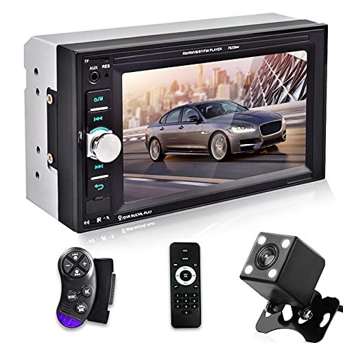 Autoradio 2 DIN - Bluetooth Auto Radio Lettori Video Integrati nel Cruscotto, 6.2 Pollici Touch Screen Car Radio con Telecamera Posteriore, Mirror Link, USB, AUX, TF Card,Controllo del Volante
