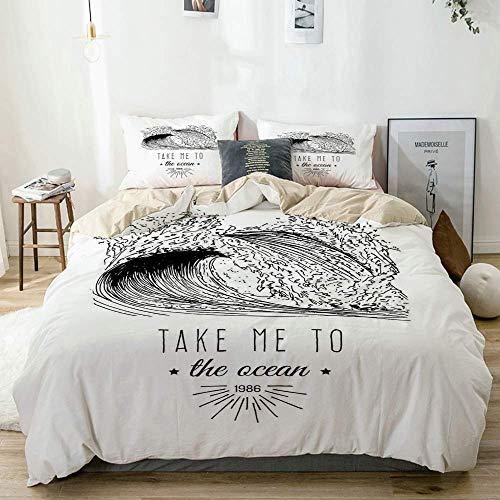 Bettwäscheset Beige, Take Me to The Ocean 1986 Beschriftung Minimalistische Darstellung von Brandungswellen, dekoratives 3-teiliges Bettwäscheset in doppelter Größe mit 2 Kissenbezügen Pflegeleicht, a