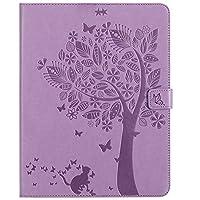 JDDR タブレットケース、 IPad第2/第3/第4世代タブレットケース、クリエイティブツリー猫エンボスデザインPUレザーフリップウォレットオートスリープ/ウェイクスタンドカバー用 (色 : Light Purple)