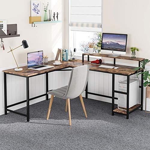 Tribesigns Komputer-biurko biuro biurko w kształcie litery L drewniane narożne biurko z półkami, komputer stacja robocza duże biurko do gier PC ze stojakiem na monitor stół biurowy do domu i biura 140 cm x 130 cm biały