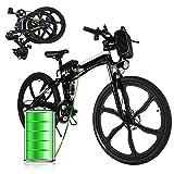 E-Bike Bici Pieghevole Mountain Bike Bici Elettrica con Cambio Shimano 21 velocità, 250W, 8AH, Batteria agli ioni di Litio 36V, 26', Bici City Bike(Nero Bianco)