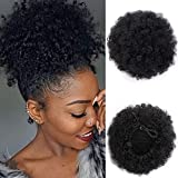 Afro Puff Drawstring Ponytail Synthetic Short Afro Kinkys Curly Afro Bun Extension Hairpieces Updo Hair Extensions with Two Clips (Black-1#)