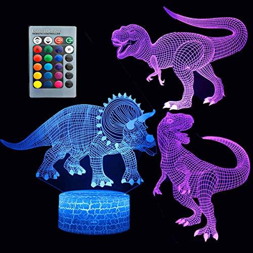 ZYTC 3D Unicorn Night Light Tres patrones y 7 colores Cambio de lámpara de decoración con control remoto Ilusión óptica como ideas de regalo para niños y niñas (Dinosaurio)