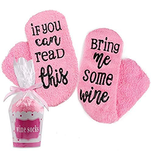 Hootracker Calcetines de Vino, Calcetines Divertidos Mujer If You Can Read This Bring Me Some Wine y Calcetines para Cupcakes, diseño Divertido, Color Rosa