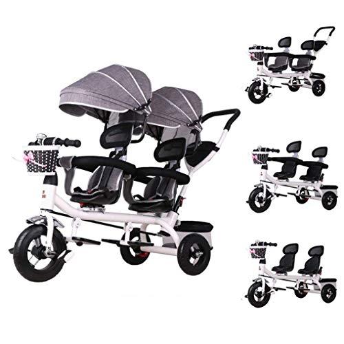 LBBGM Niños 4 en 1 Triciclo Triciclo de Gemelos, niños Push Cochecito para niños Bicicleta Doble de 3 Ruedas para niños Niñas Niños pequeños de 1 a 6 años (Color: Gris)