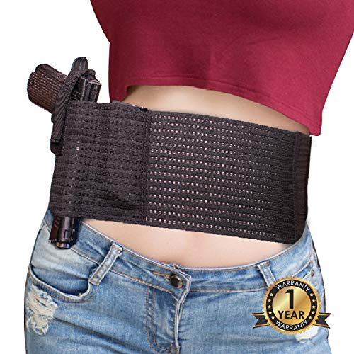 POYOLEE Belly Band Holster for Concealed Carry | Elastic IWB Holster for Women and Men Right and Left Hand Draw | Fits Subcompact Compact Pistols Revolvers (XL - fits Belly 40''-46'')