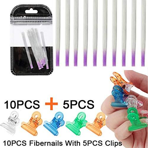 Anself 10pcs Ongles en Fibre de Verre Forme d'extension et 5pcs Ongles Pincer Clips Ongles Kit d'extension de Fibre Ongles Construction pour Nail Art Bricolage