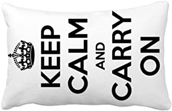DIYthinker Quote Keep Calm and Carry On Black Throw Lumbar Pillow Insert Cushion Cover Home Sofa Decor Gift 16 inch x 16 inch