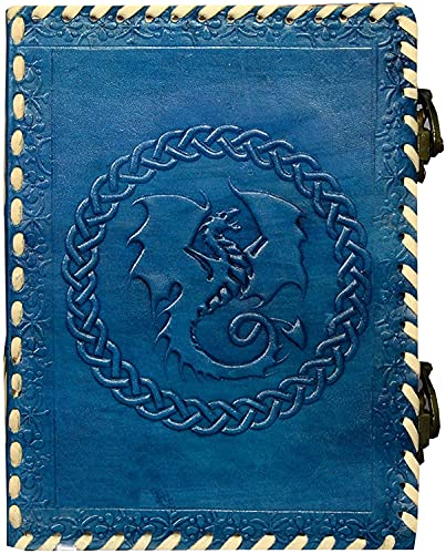 Axuvel 10' Leather Handmade Journal Notebook A4 Embossed Game of Thrones Celtic Dragon Handmade Travel Journal Diary with Lock & Unlined Paper for Writing and Gift for Men and Women (Turquoise)