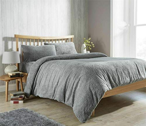 [hachette] Teddy Bear Fleece Duvet Cover Set Super Soft Warm and Cosy Bedding Set Including Pillowcases (Grey Silver, King)