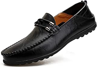 Men's Casual Leather Hand Stitching Slip On Loafers Soft Comfortable Oxford Walking Driving Shoes