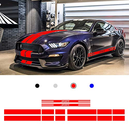 Cobear Auto Seitenstreifen Seitenaufkleber Aufkleber für F ORD Mustang 2015-2017 Rennstreifen Racing Decals Viperstreifen Rot 2 Stück