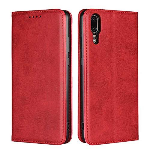 Coque Huawei P20, SONWO Premium PU Cuir Rabat Portefeuille de Protection Coque avec Fonction Support et Fente pour Carte pour Huawei P20, Rouge