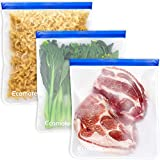 Ecomore Reusable 2 Gallon Freezer Bags - 3 PCS 2 Gallon Food Storage Bags LEAK-PROOF EXTRA THICK Reusable Lunch Sandwich Bags for Meat, Vegetable, Fruit, Oat, Toy, Snack, Home Organization