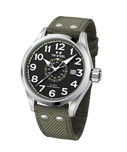 TW Steel Volante - Reloj Analógico de Pulsera con Movimiento de Cuarzo para Hombre, Caja Acero Inoxidable, Cristal Mineral, Correa Textil