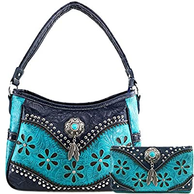 Justin West Cowgirl Leather Cut Concealed Carry Feather Concho Country Vintage Western Handbag Purse Wallet Set (Deep Turquoise)