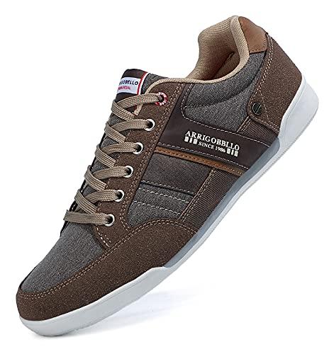 TARELO Zapatillas Hombre Casual Sneaker Moda Deportivas Interior Zapatos Gimnasia Comodos Exterior Running Deportes Talla 41-46 (MARRÓN, Numeric_43)