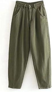NOBRAND Mujeres Streetwear Plisado Mamá Vaqueros De Cintura Alta Sueltos Slouchy Jeans Bolsillos Novio Pantalones Casual S...