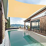 Garden expert Waterproof Sun Shade Sail 10'x10' Square Canopy Cover for Patio Backyard Lawn Outdoor Activities, Sand