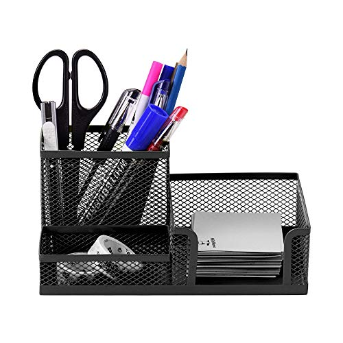 Tianzhi Desk stationery storage box Multifunctional desk storage box Mesh metal pen holder Stationery box Office household goods storage (Color : Black)