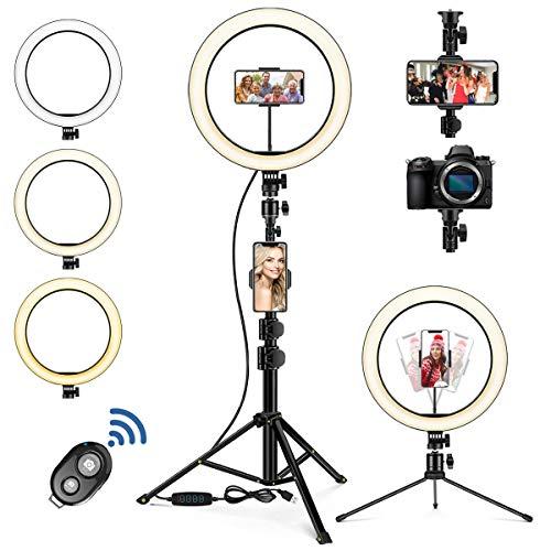 Hinshark LED Ringlicht mit Stativ Handy, 10 Zoll Selfie Ringlicht, LED Ringlicht mit 3 Farbmodi und 10 Helligkeitsstufen, Streaming Licht für YouTube, TikTok, Vlogs, Makeup,...